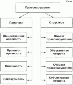 Рис.1 – Признаки и структура правонарушений