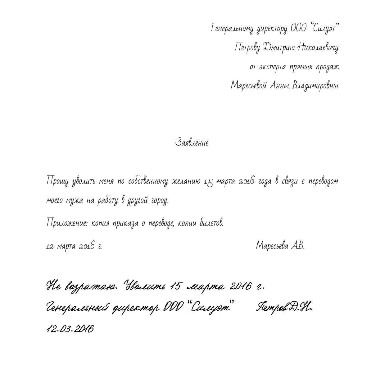 Заявление на отпуск с последующим увольнением по собственному желанию Образец 2017 3