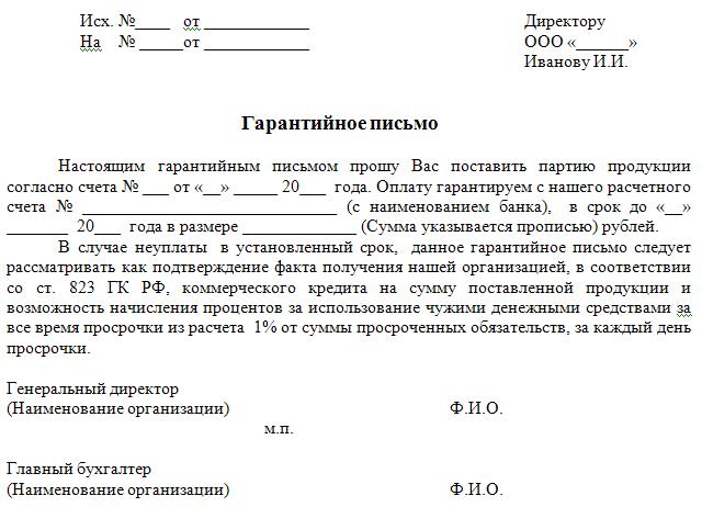 Гарантийное письмо о выполнении обязательств по договору