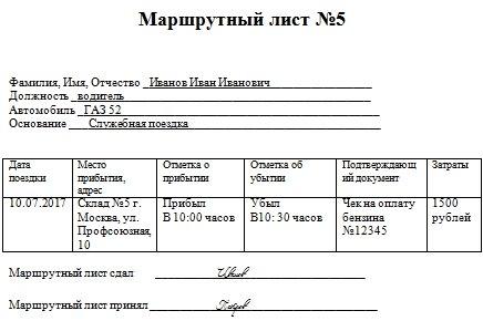 маршрутный лист командировка